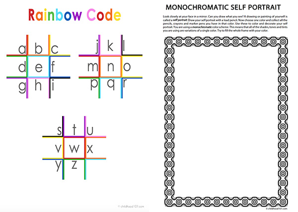 Rainbows and Kaleidoscopes sample printable pages