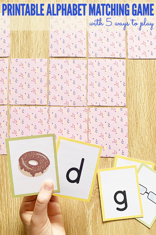 Printable alphabet memory matching game