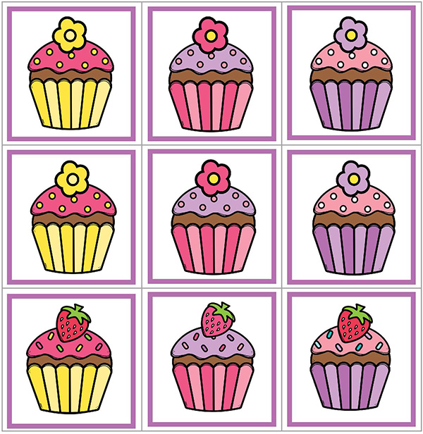 Visual discrimination: Cupcake concentration matching game
