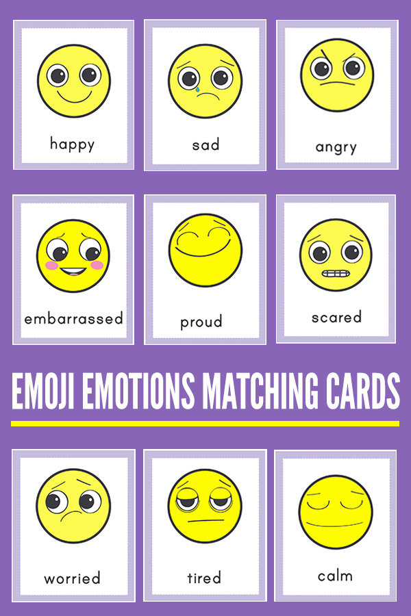 photo relating to Emoji Feelings Printable named Emoji Thoughts Matching Playing cards for Researching Inner thoughts Thoughts