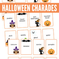 Printable Halloween charades game cards
