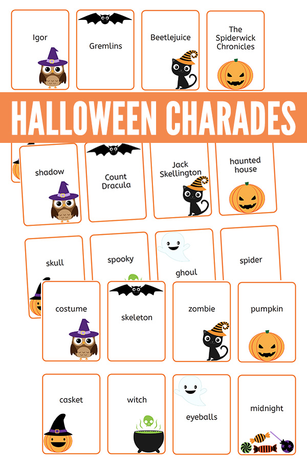 photograph regarding Charades Printable titled Charades for Children: Printable Halloween Charades Match Playing cards
