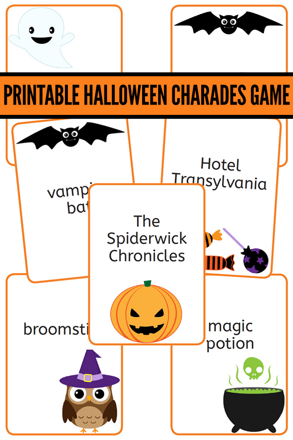 picture regarding Halloween Charades Printable known as Charades for Young children: Printable Halloween Charades Activity Playing cards