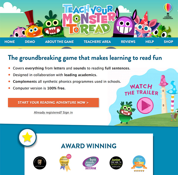 Teach Your Monster To Read: Reading Websites for Kids