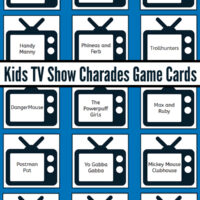 Kids TV Show Charades Game Cards