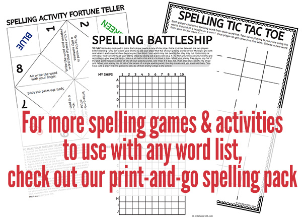 Spelling activities to use with any list