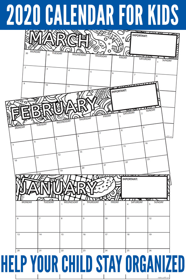 Free 2020 printable kids calendar