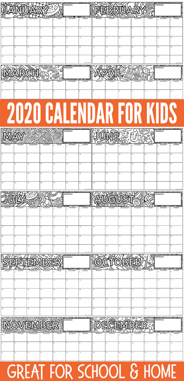 Printable children's calendar 2020