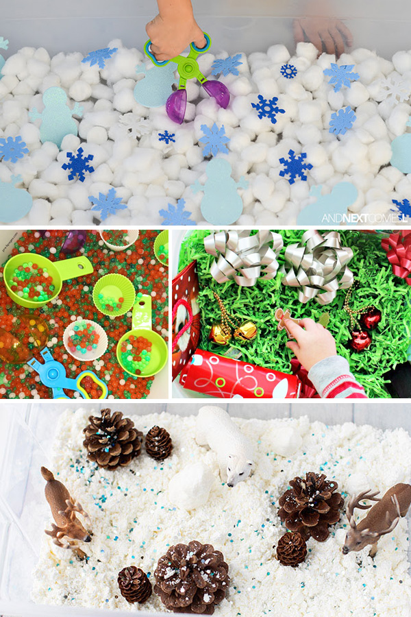 21 Christmas sensory bins for holiday sensory play
