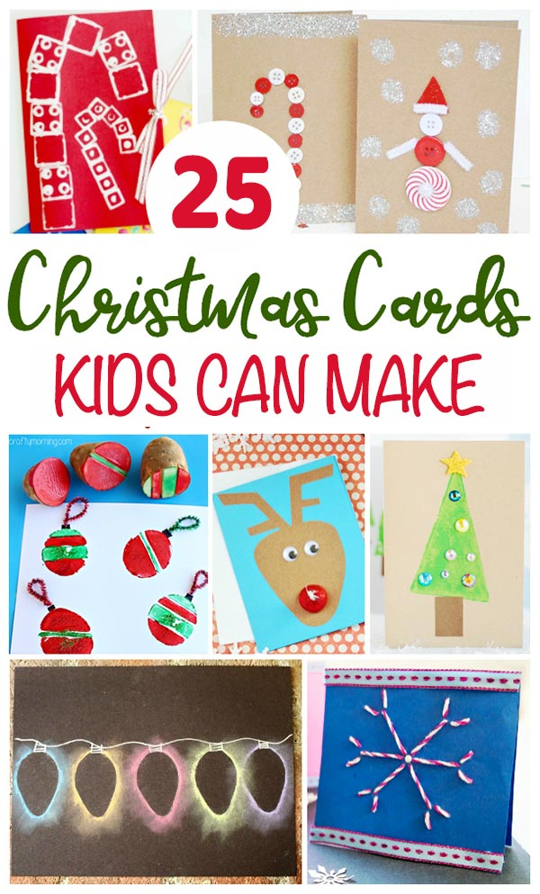 25 DIY Christmas Cards Crafts for Kids to Make: Preschool