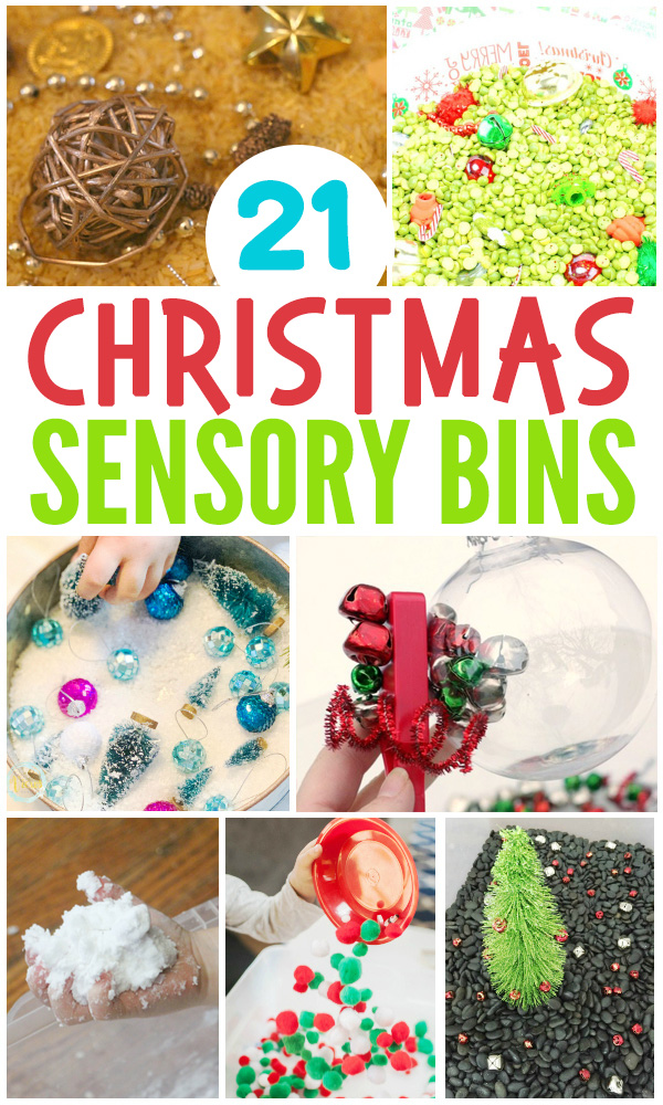 Christmas sensory bins for sensory play