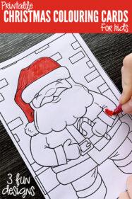 Free printable Christmas colouring cards for kids