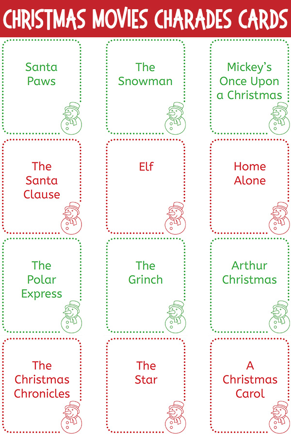 Christmas Movies Charades Cards Printable