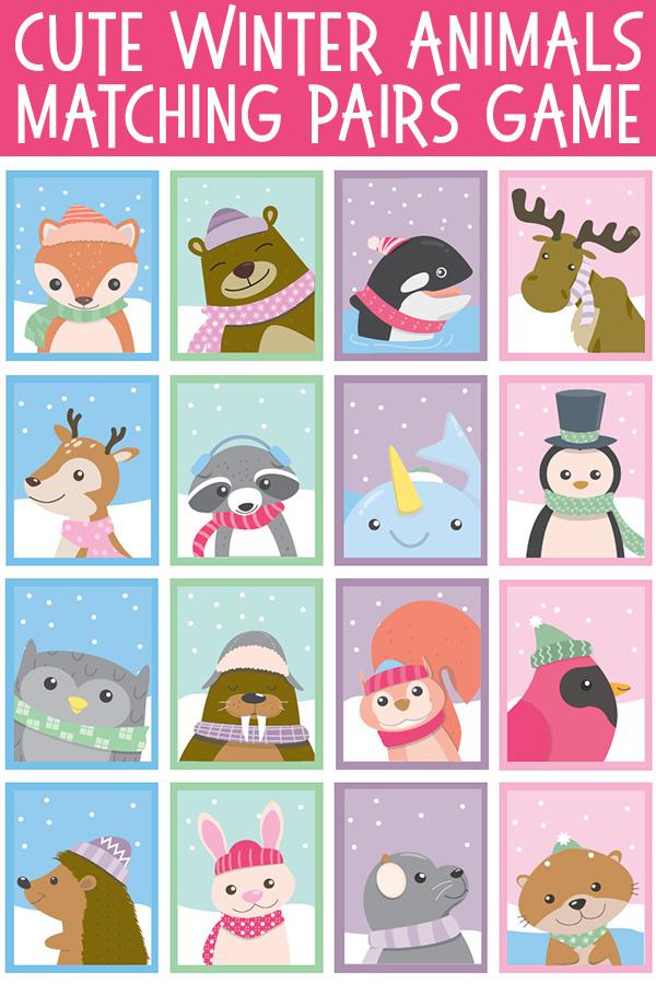 Winter Animals Matching Pairs Memory Game