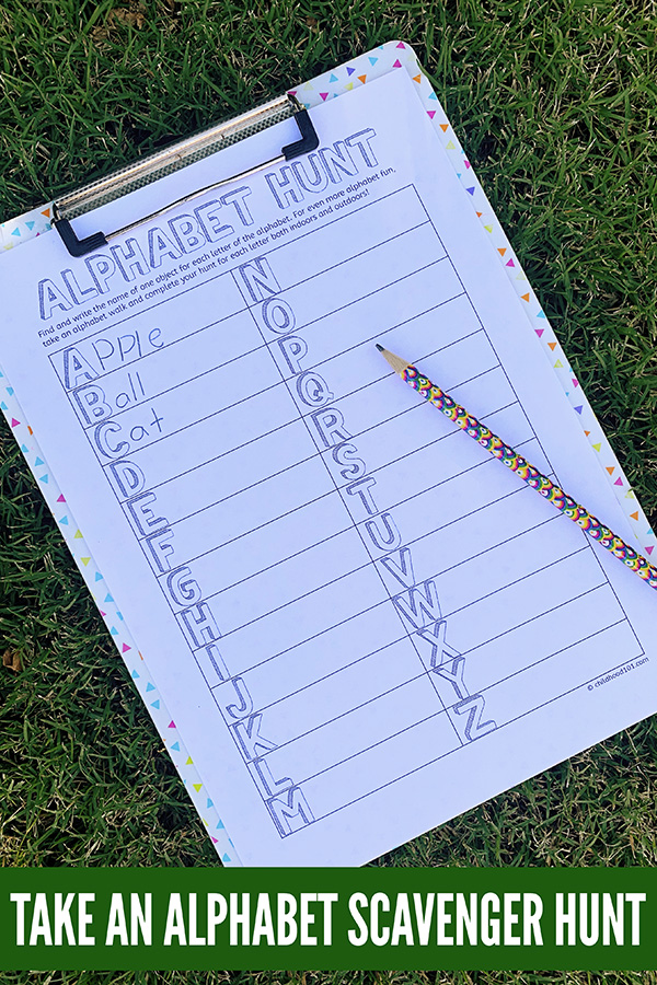 Alphabet scavenger hunt printable