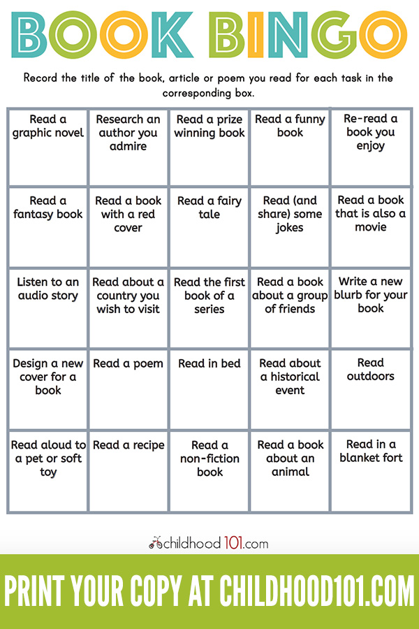 Printable Book Bingo for Kids