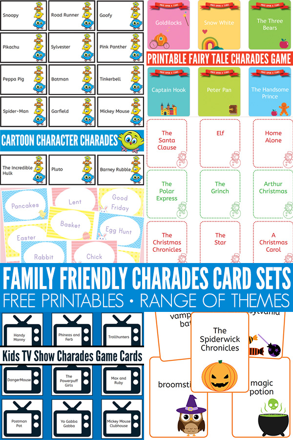 Charades ideas game cards