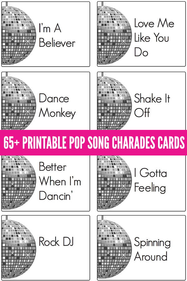 Pop song charades cards printable