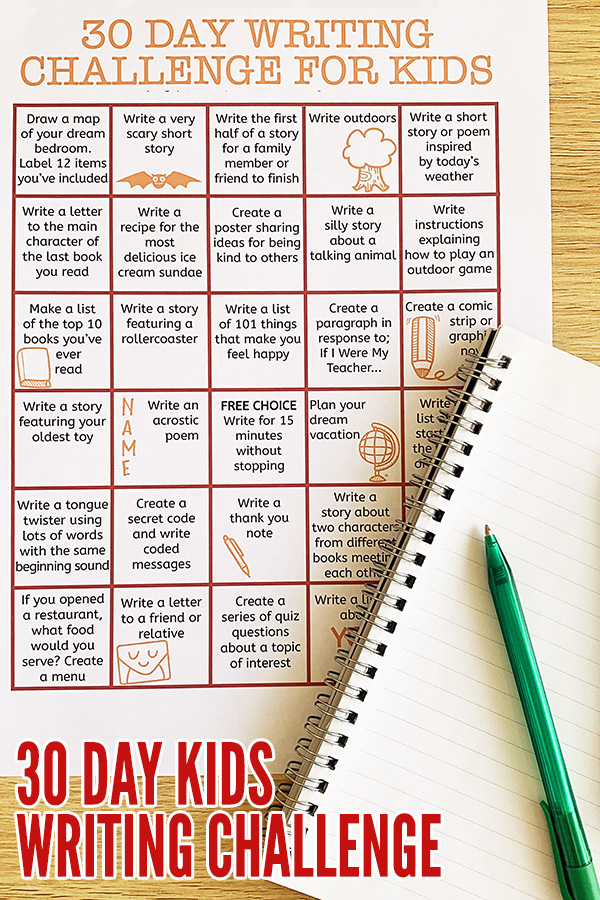 Writing prompts for kids printable: 30 day writing challenge