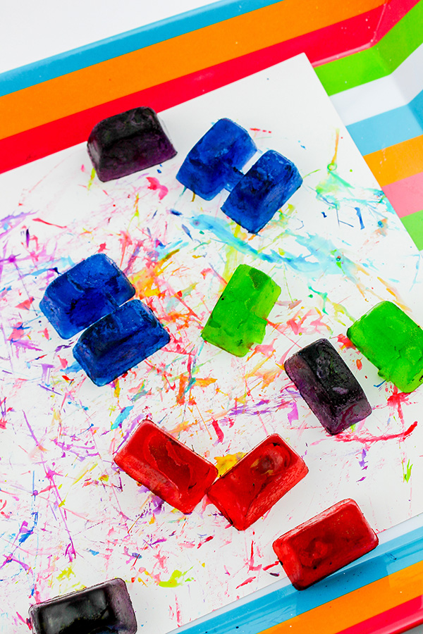 Coloured ice sensory play idea
