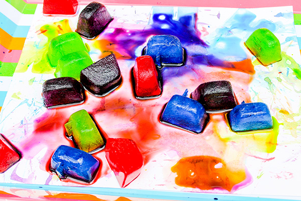 Coloured ice painting sensory play idea