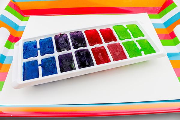 Coloured ice sensory play