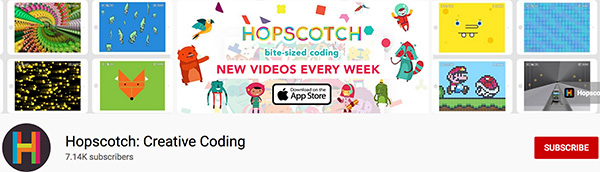 Hopscotch creative coding for kids channel