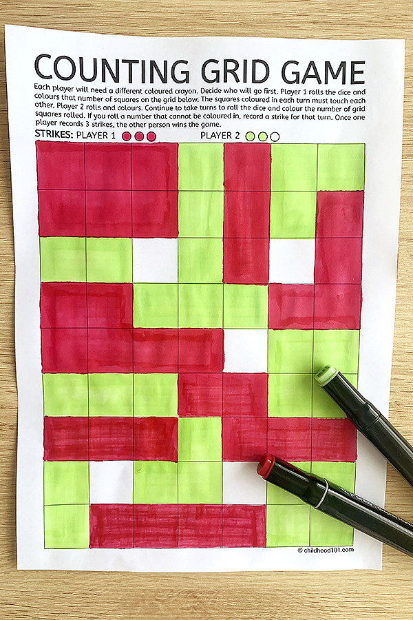 Math counting grid game printable