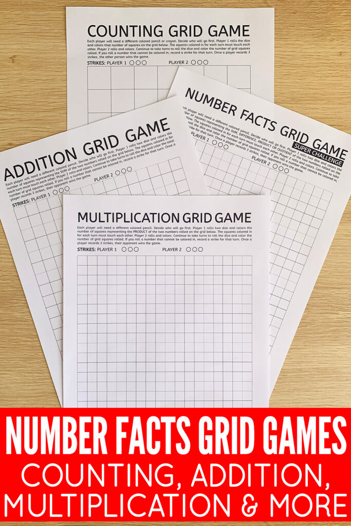 Number Facts Grid Math Games