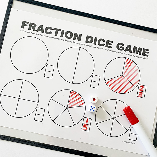 Fractions math printable dice game
