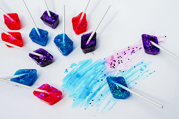 Glitter ice painting sticks