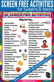 Screen free activities for tweens and teens