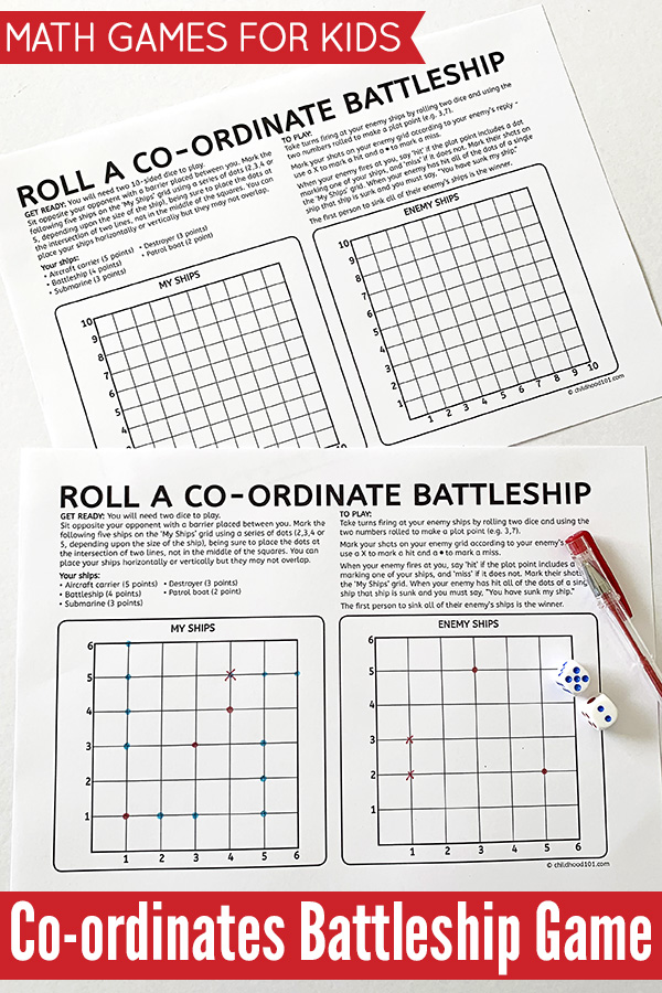 Co-ordinates Battleship Math Game