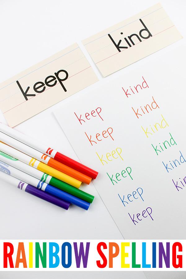 Rainbow sight words activity