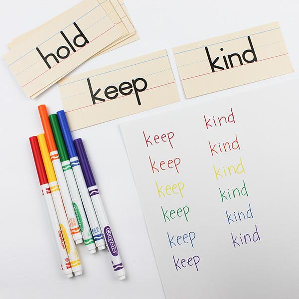 Rainbow spelling words activity
