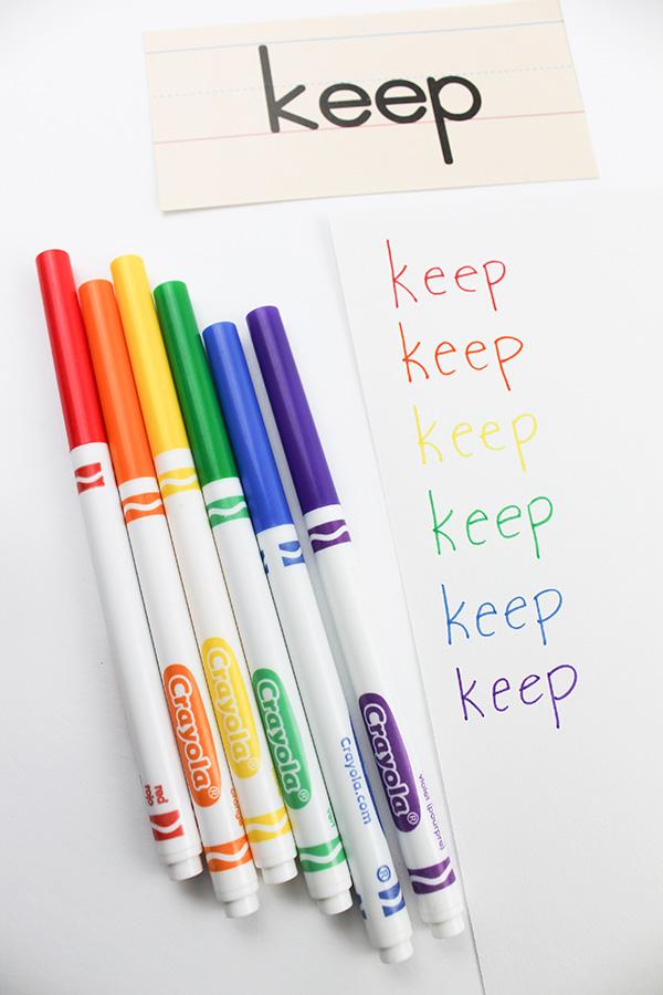 Rainbow words spelling activity