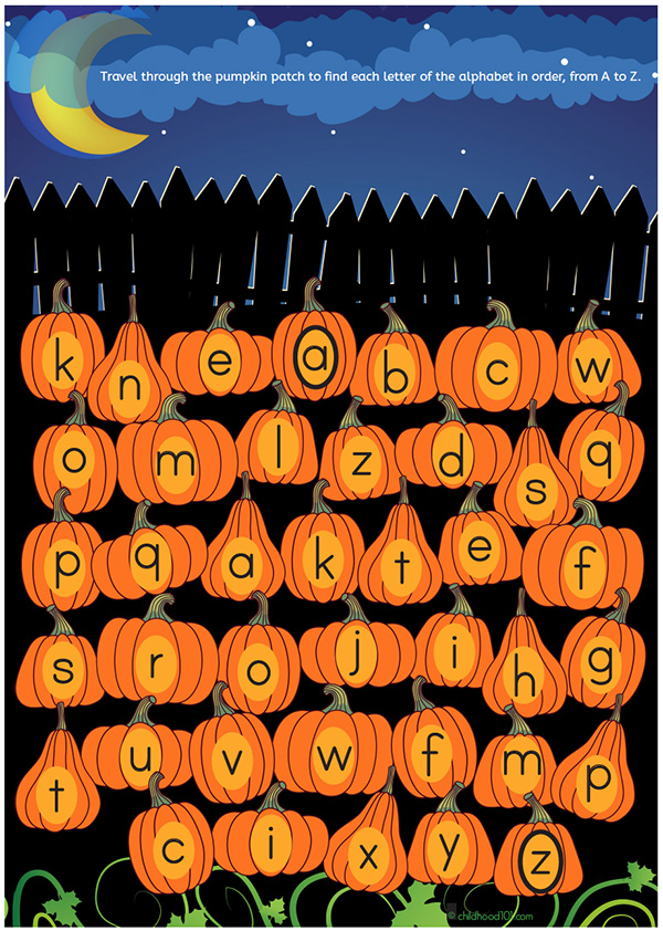Halloween alphabet maze
