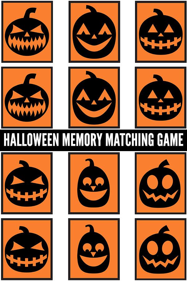 Halloween memory matching game printable