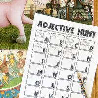 Printable adjective scavenger hunt activity