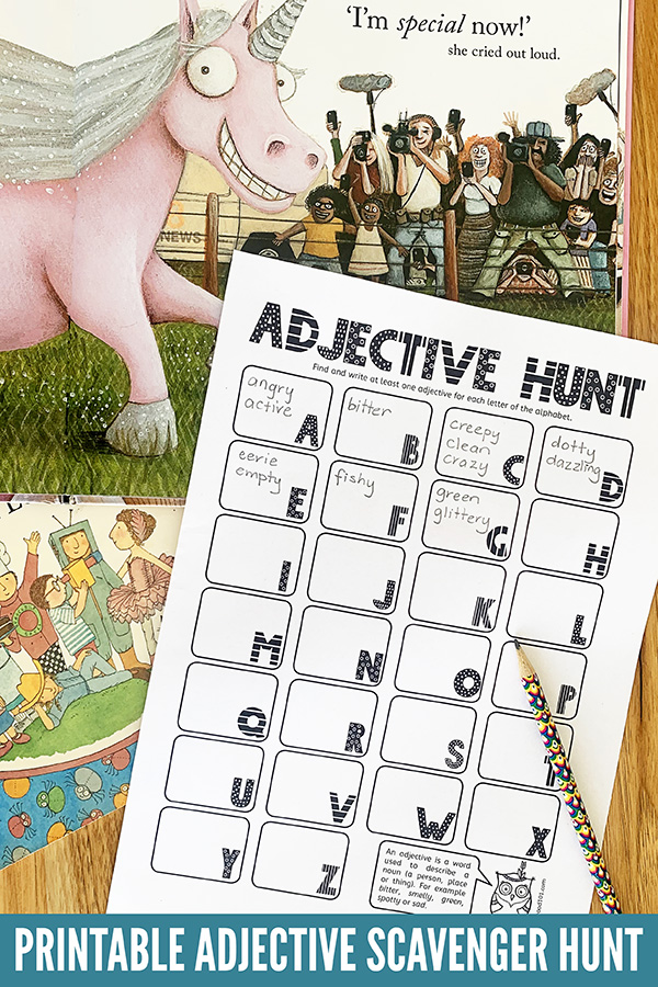 Printable adjective scavenger hunt activity