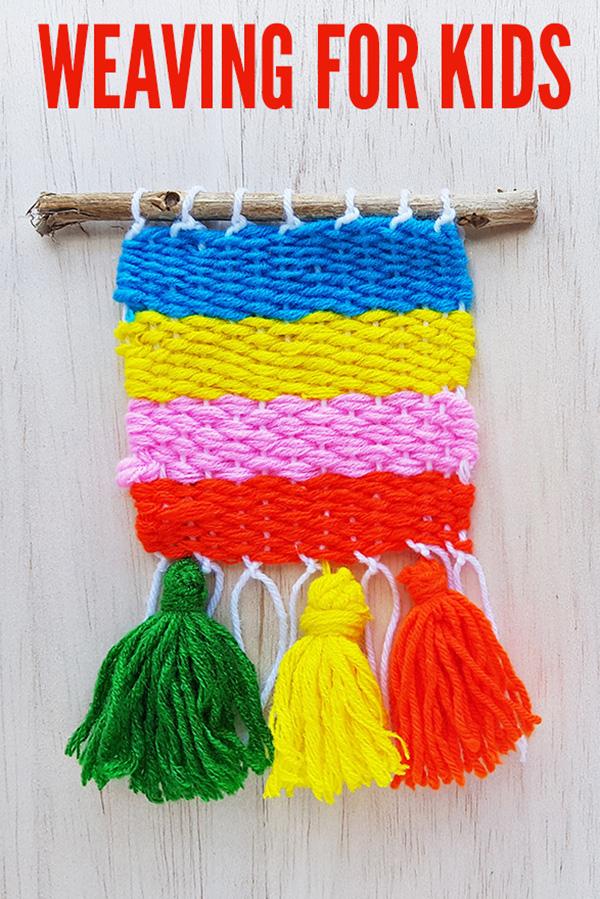 Weaving ideas for kids: Simple Yarn Weaving on a Cardboard Loom