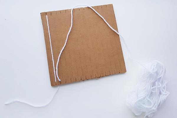 Weaving ideas for kids: Simple weaving on a cardboard loom