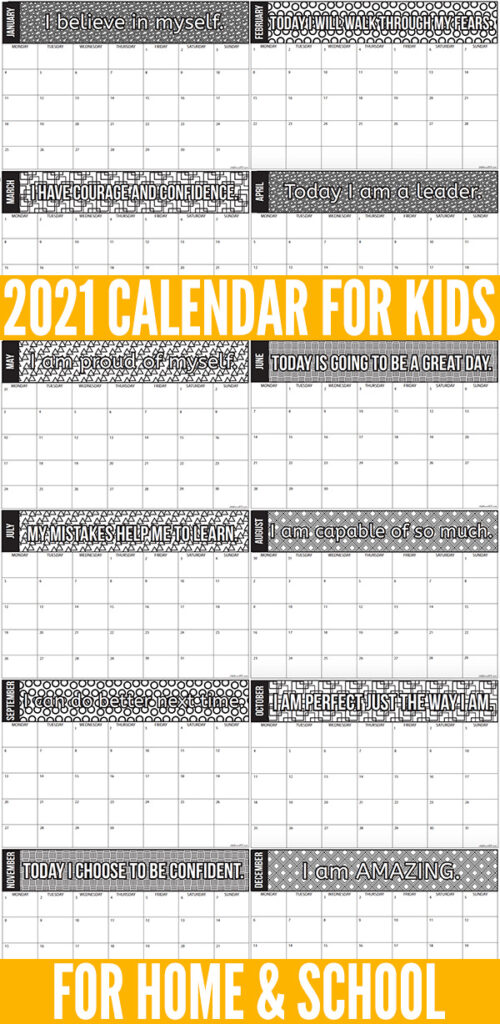 2021 Calendar for Kids Printable