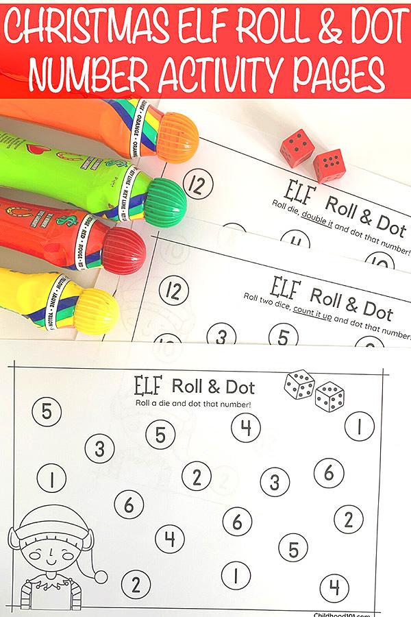 Christmas Elf Roll and Dot Math Game