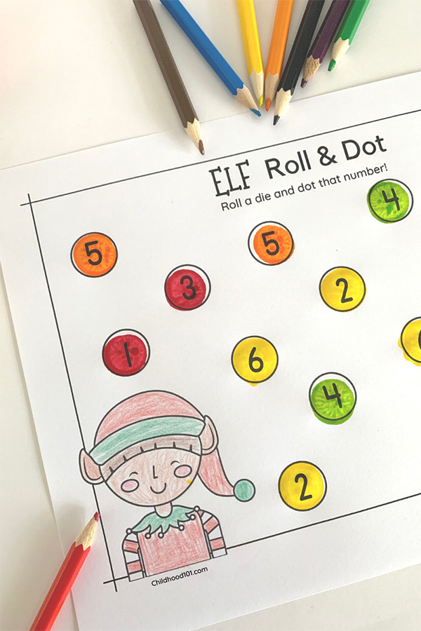 Christmas Elf Roll and Dot Number Activities