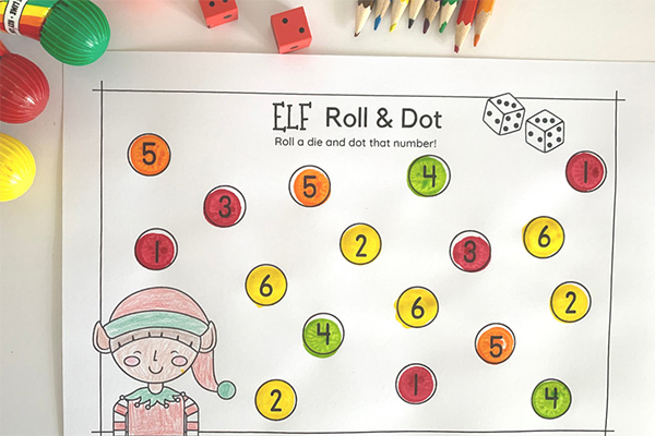 Christmas Elf Roll and Dot Number Activity