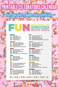 Fun Celebrations Calendar Printable