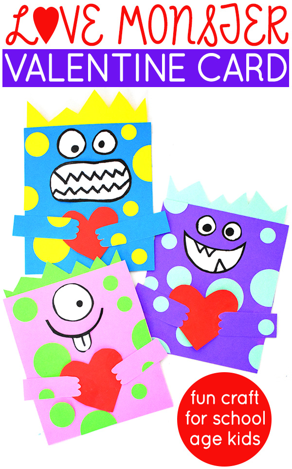 Love Monster Valentine Card Craft for school age kids