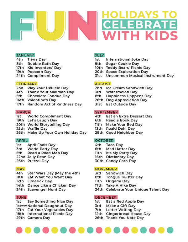 Printable Fun Celebrations Calendar