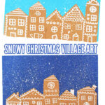 Snowy Christmas gingerbread village art